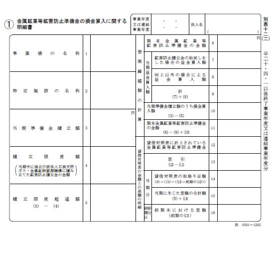 法人税法施行規則別表十二(二)