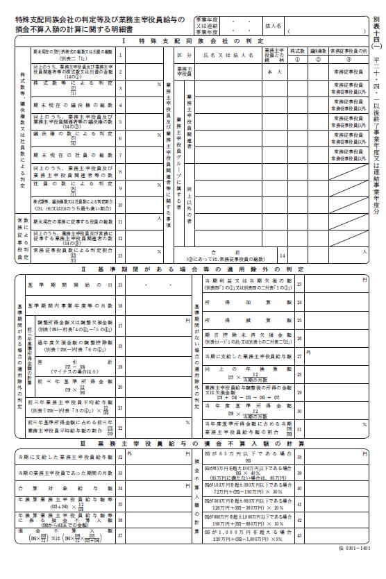 法人税法施行規則別表十四(一)