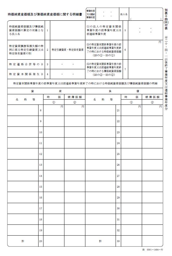 法人税法施行規則別表十四(四)付表